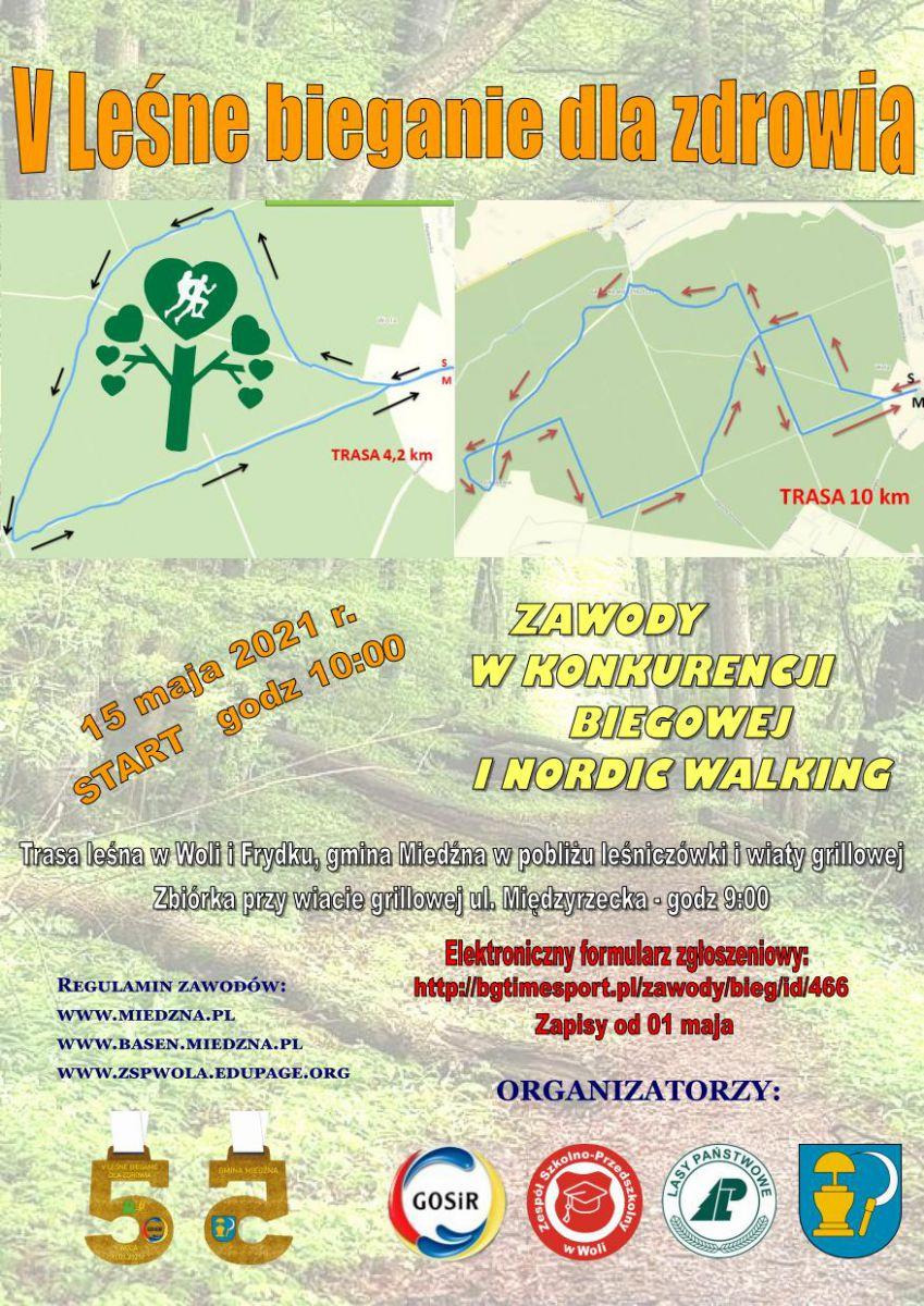 plakat V Leśne bieganie dla zdrowia